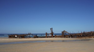 Bateau ensevelie à Fraser Island