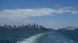 le CBD, l'Opéra et l'Harbour Bridge depuis le ferry nous amenant à Manly