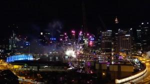 vue sur le feu d'artifice de Darling Harbour depuis notre chambre d'Hotel!